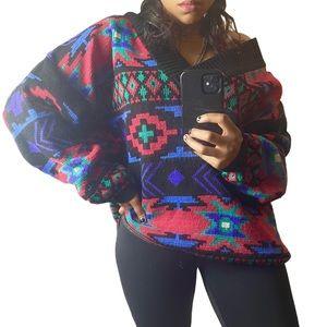 VTG Croquet • V-neck Multicolored Knit Sweater.